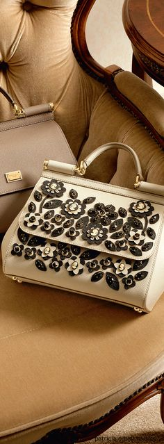 Dolce & Gabbana ~ Winter White Leather Embellished Satchel 2016