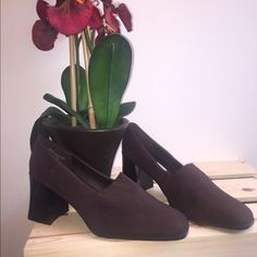 Brown slip ons Super comfy and light enough for the spring and summer days. Perfect for the office and never worn and waiting to be used by you very sturdy shoe Nicole Bags