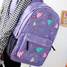 Icecream Printing Backpack For Girls School Backpacks Women Backpack Boys Children Backpack Canvas Preppy Korean Style