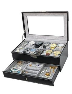 Sodynee PU Leather Glass Top Watch Box with Jewelry tray - Black - http://www.jewelryfashionlife.com/sodynee-pu-leather-glass-top-watch-box-with-jewelry-tray-black/