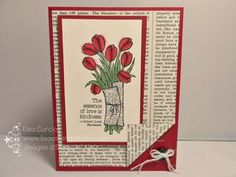 Turn up a corner for an added focal point! Stampin' Up!, Love is Kindness, Occasions catalog, tulips, Typeset designer paper, button, white jute ribbon, card, paper, scrapbook, craft, rubber, stamps, www.lisasstampstudio.com