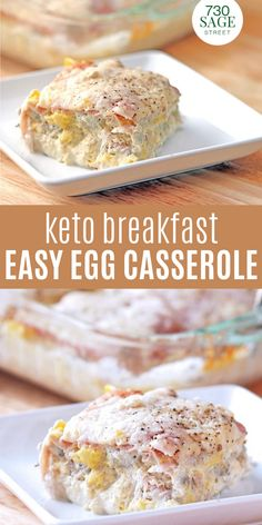 "This easy egg casserole is low carb, lchf and keto since it uses thinly sliced deli ham as the ""noodle"". It's delicious and low carb!#onthetable #breakfast #easyrecipe #casserole #eggcasserole #easybreakfast 