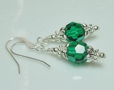 Emerald Swarovski Crystal and Silver Beaded Earrings