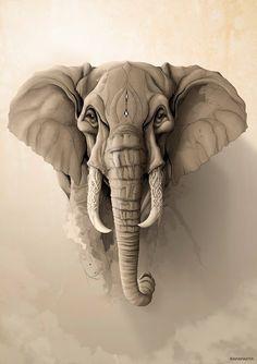 Elephant Facing Wörterbuch Illustration Kunstdruck Weinlese-Zoo-Tier