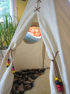 """Reader Jamie sent us an e-mail, """"I thought you might like this little project I just completed for my 16 month daughter. It doesn't really fit into the recent Great Outdoors theme but it still says summer to me. Fun Projects For Kids, Projects To Try, Diy Teepee Tent, Tents, Sewing Tutorials, Sewing Projects, Crafts For Girls, Outdoor Cooking, Outdoor Fun"""