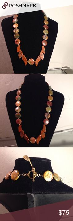BEAUTIFUL PICTURE JASPER NECKLACE Beautiful fall colors in this necklace gold tone finished findings. Jewelry Necklaces