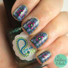 #nails, #nailart, #nailpolish, #green, #purple, #pink, #pipedreampolishgreenlight, #indie polish, #heydarlingpolish, #tripolishchallenge