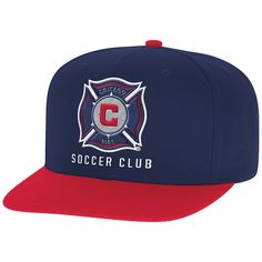 Men s Chicago Fire Mitchell  amp  Ness Navy Red Two-Tone XL Logo Snapback e10aa4536e62