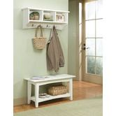 Found it at Wayfair - Shaker Cottage Bench Table and Coat Hooks.  For skinny LR wall in black?