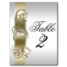 Gold Silver Ornate Formal  Table Number Postcards