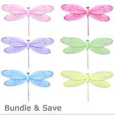 """Dragonfly Decorations 10\"""" Medium Shimmer Nylon Hanging Mesh Dragonflies 6 Piece Set Decorate Baby Nursery Bedroom Girls Room Ceiling Wall Decor Wedding Birthday Party Baby Shower Bathroom Child 3D Art -- Click image for more details."""