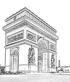 Free coloring page coloring-paris-arc-triomphe. The Arc de Triomphe of Paris, capital of France, in High Definition and in black & white : to color