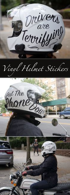 I was inspired by hand painted helmet designs and chose brush script lettering to communicate my two most common thoughts about drivers while riding my motorcycle in NYC. For single-color designs like mine, you don't need a big vinyl printer, just a hobby vinyl cutter will work fabulously.