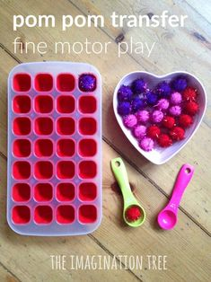 Pom Pom Scoop and Transfer for Toddlers - simple to prepare fine motor activity