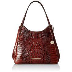 Brahmin Dayton Shoulder Bag ($318) ❤ liked on Polyvore featuring bags, handbags, shoulder bags, brahmin purses, red handbags, brahmin, red shoulder bag y pocket purse