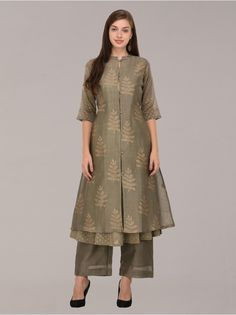 Golden Khari olive front open buttons chanderi layered tunic set of 3 Salwar Designs, Kurta Designs Women, Kurti Designs Party Wear, Dress Indian Style, Indian Dresses, Indian Outfits, Dress Neck Designs, Blouse Designs, Modele Hijab