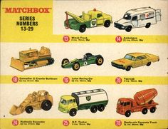 Lesney Matchbox numbers 13-29 (1960s)
