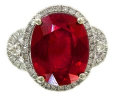 14k white gold oval ruby and round cut diamonds antique art deco design 8.50ctw on Etsy, $2,299.00