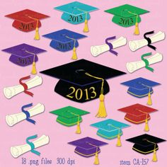 graduation clip art digital graduation caps by LaurelingStudios, $2.99