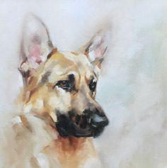 "'Boyd' oil on canvas 10""x10"" by Julie Brunn"