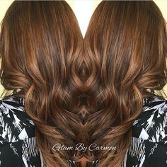 Gorgeous carmel & chocolate hair by @glambycarmen! She hand painted #KenraColor 6N to 8N. #Balayage