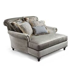 Bringing the elegant details of a European heirloom to today's luxurious aesthetic, our Cybil Chaise and a Half will call to you at the end of a long day or after a warm bath. Ideal for a sophisticated yet romantic retreat, the sumptuously proportioned chaise overflows with comfort.Tri-color pencil cording on the seat cushionTight back accented with five throw pillowsLoose pillows filled with the perfect amount of feather and downFoam core of seat cushion wrapped in down and polyester f...