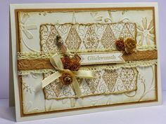 Handmade Shabby Chic Birthday card - background was embossed and stamped
