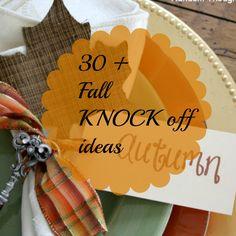 Fall / Autumn / Thanksgiving / Harvest knock off home decor ideas