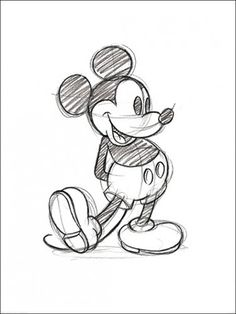 Buy Disney Mickey Mouse Sketch - Framed online and save! Walt Disney's legendary Mickey Mouse sketch illustrated in pencil will make the perfect print for any Disney fan's wall. View our full range to comple. Mickey Mouse Sketch, Mickey Mouse Drawings, Mickey Drawing, Mickey Mouse Art, Drawing Disney, Minnie Mouse Drawing, Mickey Mouse Tattoos, Original Disney Sketches, Disney Cartoon Drawings