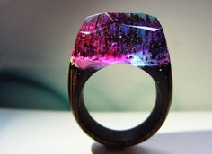 """Wenge ring """"Magic forest"""". Womens wood ring. Wood ring resin. Wooden fashion jewelry. Like secret wood ring. In stock 6.0 size. by GeppettoJewelry on Etsy"""