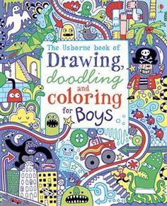 In my 9-year-old son's Brain Bag: The Usborne Book of Drawing, Doodling and Coloring for Boys (ages 6+)