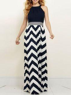 Choies Women's Chevron Print Key Hole Back Maxi Dress at Amazon Women's Clothing store: