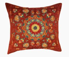 Suzani pillow cover from Uzbekistan. Hand embroidered with naturally dyed. Anatolian and central Asian patterns. Great for Boho-Chic, Bohemian decorating style, and can also be mixed with contemporary, modern or traditional decor. Check out our Facebook and Pinterest pages for examples of suzanis p