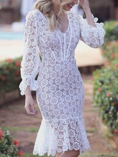 Style:Fashion Pattern Type:Solid Material:Lace Neckline:Deep V neck Sleeve Style:Long Sleeve Decoration:Lace Length:Midi Occasion:Prom & Dance,Cocktail & Party Package Dress Note: There m. Elegant Midi Dresses, Stylish Dresses, Simple Dresses, Beautiful Dresses, Fashion Dresses, Party Dresses For Women, Club Dresses, Summer Dresses, Fishtail Midi Dress