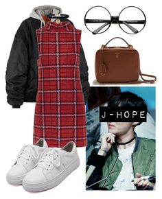 """J-Hope Inspired Outfit #2"" by flaviaazevedo2000 ❤ liked on Polyvore featuring ZeroUV, Topshop, WithChic and Mark Cross"