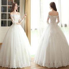 2017 Vantage Off Shoulder Long Sleeve White Lace Wedding Dresses, Lace Up Bridal Gown, WD0009