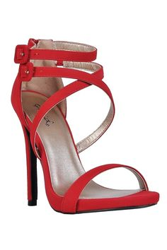 """These sexy stilettos are sure to make temperatures rise! The Strap Happy Banded Open Toe Stiletto is made of a suede-like fabric. Double ankle straps, a crisscross strap in the front, and a band at the toe all combine to create a chic sandal.  These strappy heels would look great paired with dresses or flirty skirts.   Details: All man made materials. Measurements: Heel height: 4.5""""."""