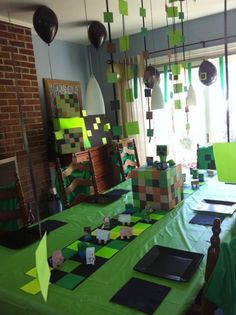 Minecraft Decoration Ideas for Birthday . Awesome Minecraft Decoration Ideas for Birthday . What A Great Minecraft Birthday Party with themed Party Food 9th Birthday Parties, Minecraft Birthday Party, 8th Birthday, Minecraft Party Ideas, Minecraft Party Decorations, Mine Craft Birthday, Table Decorations, Birthday Table, Table Centerpieces