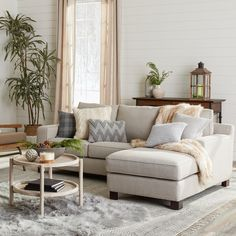 Shop Sectional Sofa with Chaise in Light Grey - Free Shipping Today - Overstock - 8654679