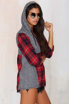 Come as You Are Flannel Hoodie Shirt - Sweatshirts
