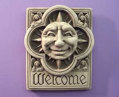 #Carruth #Sun and Angels #welcome #plaque #celestial #gift #handcrafted #handcast #stone #madeinAmerica