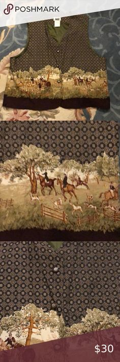 Lucia Luxury. Top off that perfect blouse This beautiful vest has the perfect trim for a horse lover to stand out in a crowd. Fully lined. Like new Lucia Other Native American Decor, Petite Pants, Online Thrift Store, Shane Dawson, Side Bags, White Bodysuit, Young Living Essential Oils, Disney Parks, Handmade Art