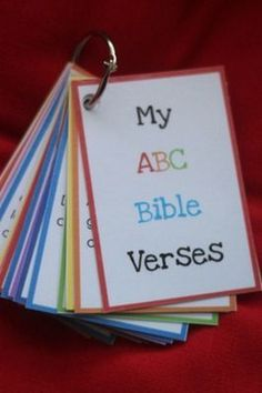 ABC Bible verse flash cards ~ a full set of scripture verses for every letter of the alphabet!Printable ABC Bible verse flash cards ~ a full set of scripture verses for every letter of the alphabet! My Little Kids, Verses For Cards, Bible For Kids, Bible Stories For Kids, Bible Verse For Family, Bible Lessons For Children, Quotes Children, Kids Church, Church Ideas