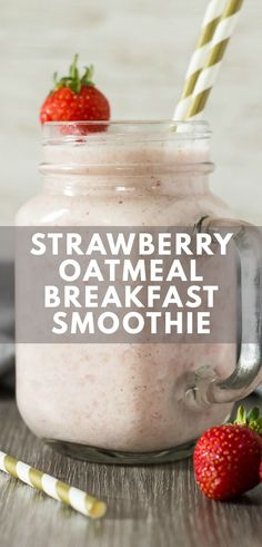 Protein Smoothies, Oat Smoothie, Breakfast Smoothie Recipes, Fruit Smoothie Recipes, Yummy Smoothies, Strawberry Oatmeal Smoothie, Smoothie With Oatmeal, Healthy Oatmeal Smoothies, Healthy Breakfast Shakes