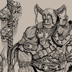 """Check out my @Behance project: """"Drawing of an orc. Sketch on paper and digital inking."""" https://www.behance.net/gallery/44517719/Drawing-of-an-orc-Sketch-on-paper-and-digital-inking"""