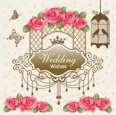 vintage wedding card design abstract vector set