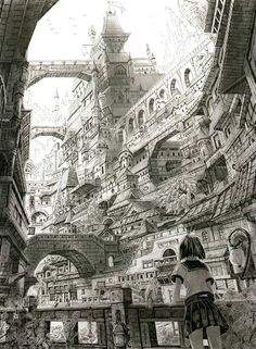 The Art Of Animation, Mitamakura Imagination of exemplary style! Fantasy City, Fantasy Kunst, Fantasy World, Environment Concept Art, Environment Design, Art Et Illustration, Illustrations, Ipad Kunst, Drawn Art