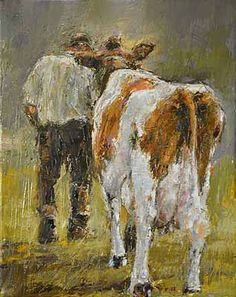 It's possible to lead a cow up stairs...but not down stairs.   (keep that in mind next time you lead a cow  :).......keith bowen artist: Leading a cow