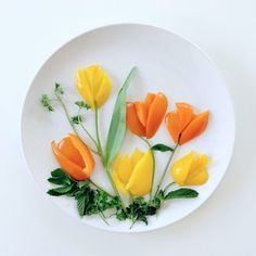 Tulips.  Bell peppers, parsley, mint leaves ...
