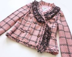 Authentic Chanel Jacket at prices up to off Retail. Chanel Jacket Trims, Balmain Blazer, Chanel Logo, Boucle Jacket, Dog Wear, Vintage Chanel, Embroidered Lace, Fashion Details, Topshop